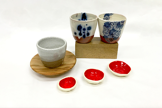 Brooke Clunie, ceramic mugs and condiment set